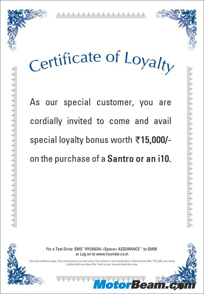 Hyundai india offers loyalty bonus 2010hyundailoyaltycertificate yadclub Image collections