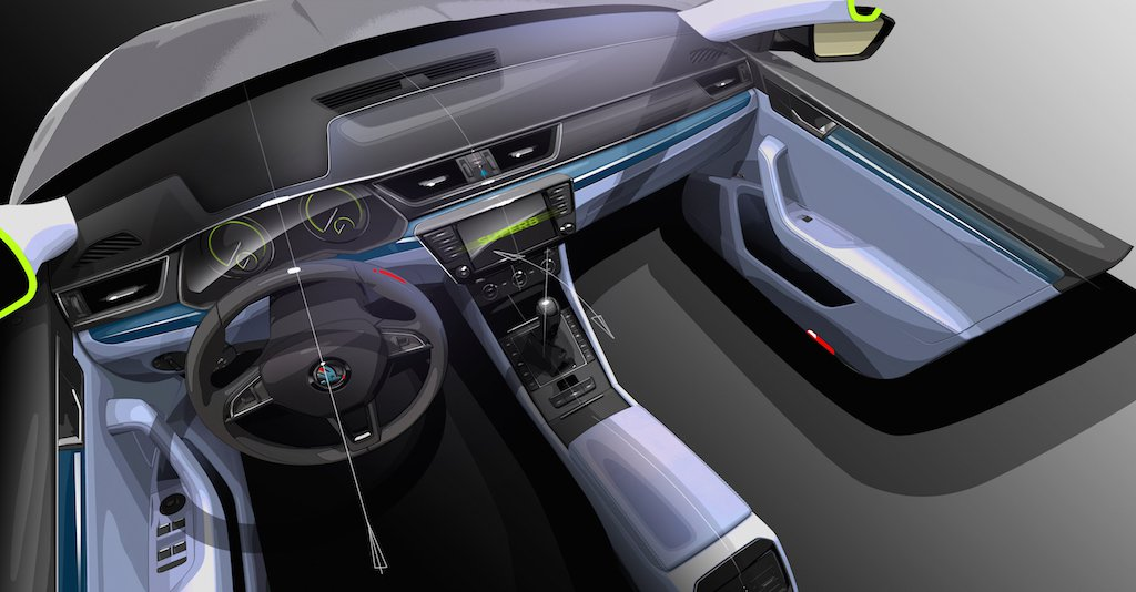 2016 Skoda Superb Interior Sketch