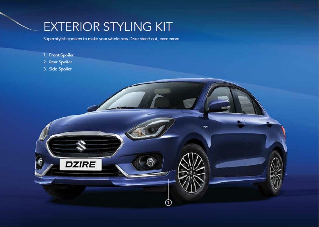 Maruti DZire Accessories Styling Packages Revealed - Car body graphics for altomaruti dzire exteriorsinteriors genuine accessories