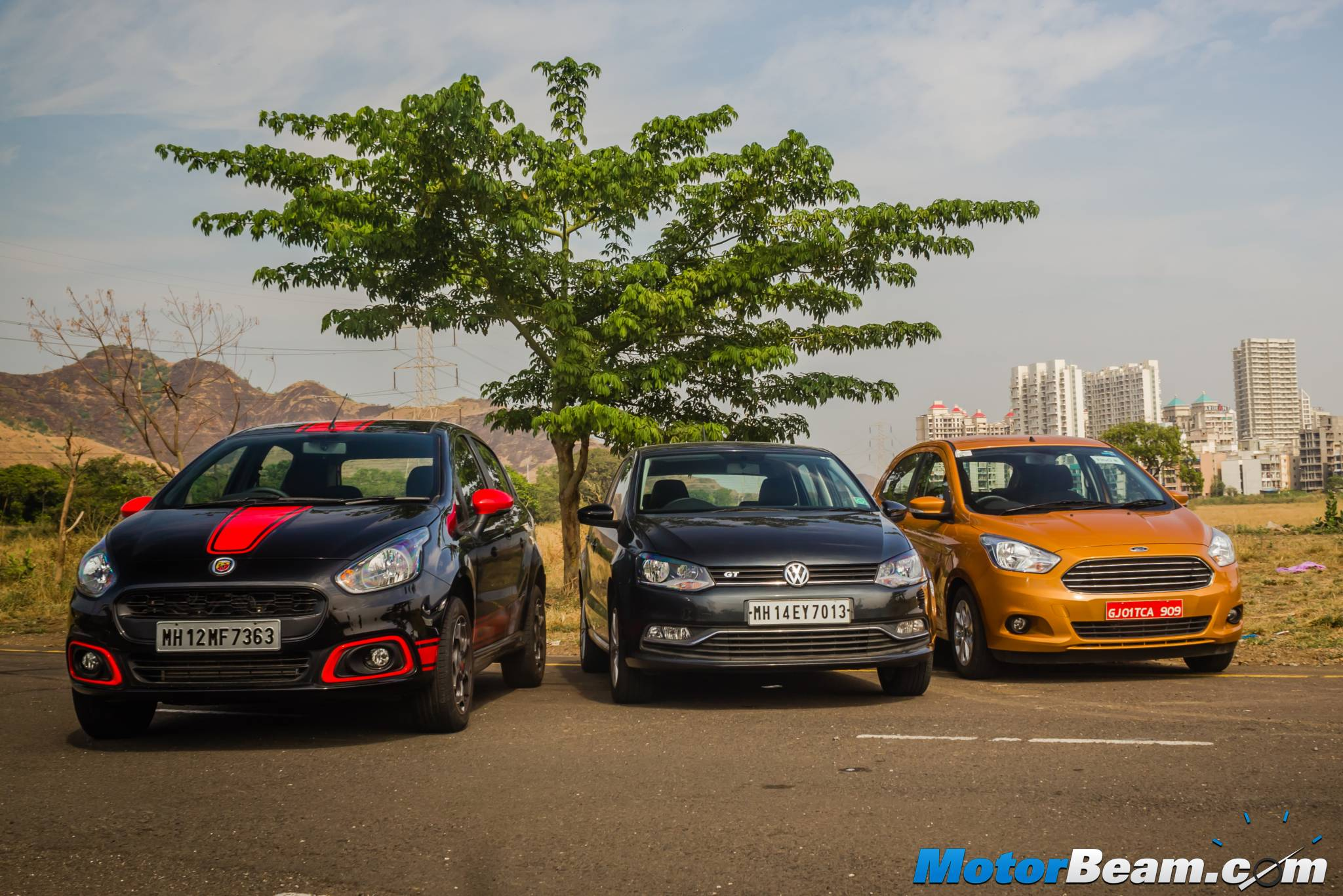 Fiat Punto Abarth vs Volkswagen Polo GT TSI vs Ford Figo