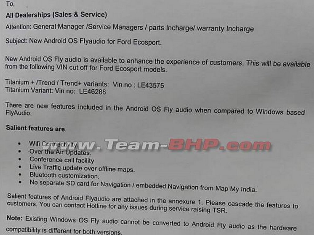 Ford EcoSport Infotainment Notification