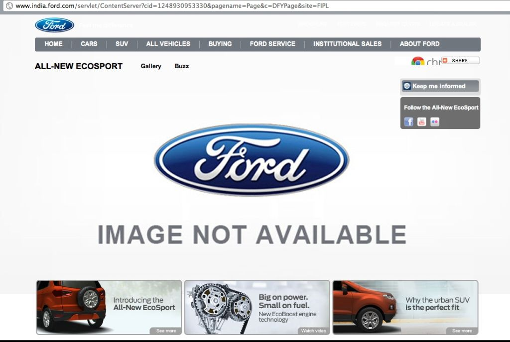 Ford EcoSport India Website