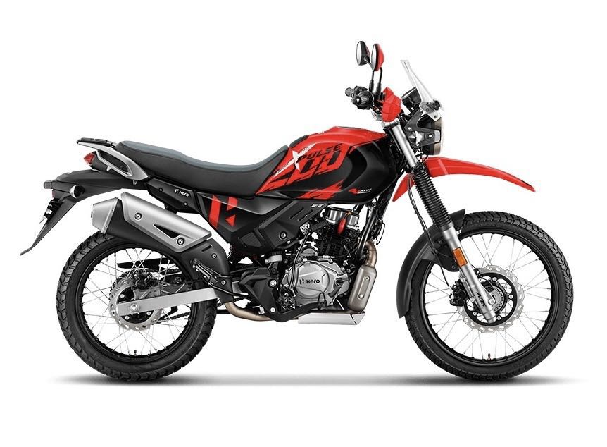 Side profile of the motorcycle with red and black colour theme