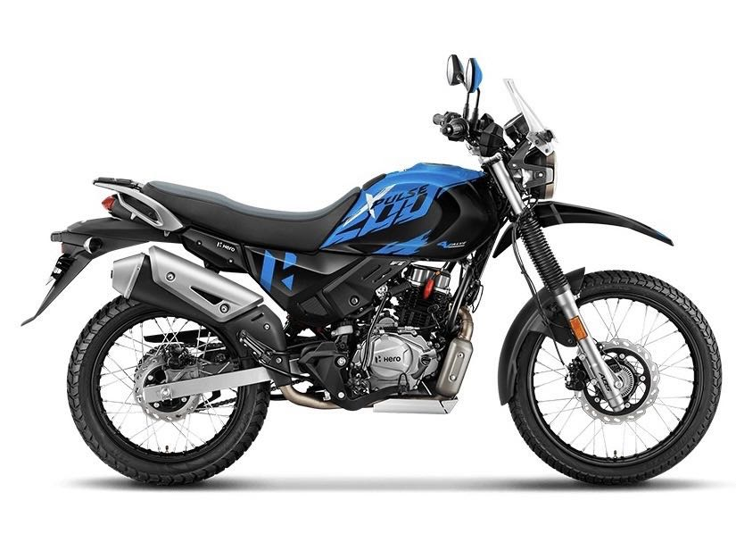 Side profile of the bike with black and blue colour theme