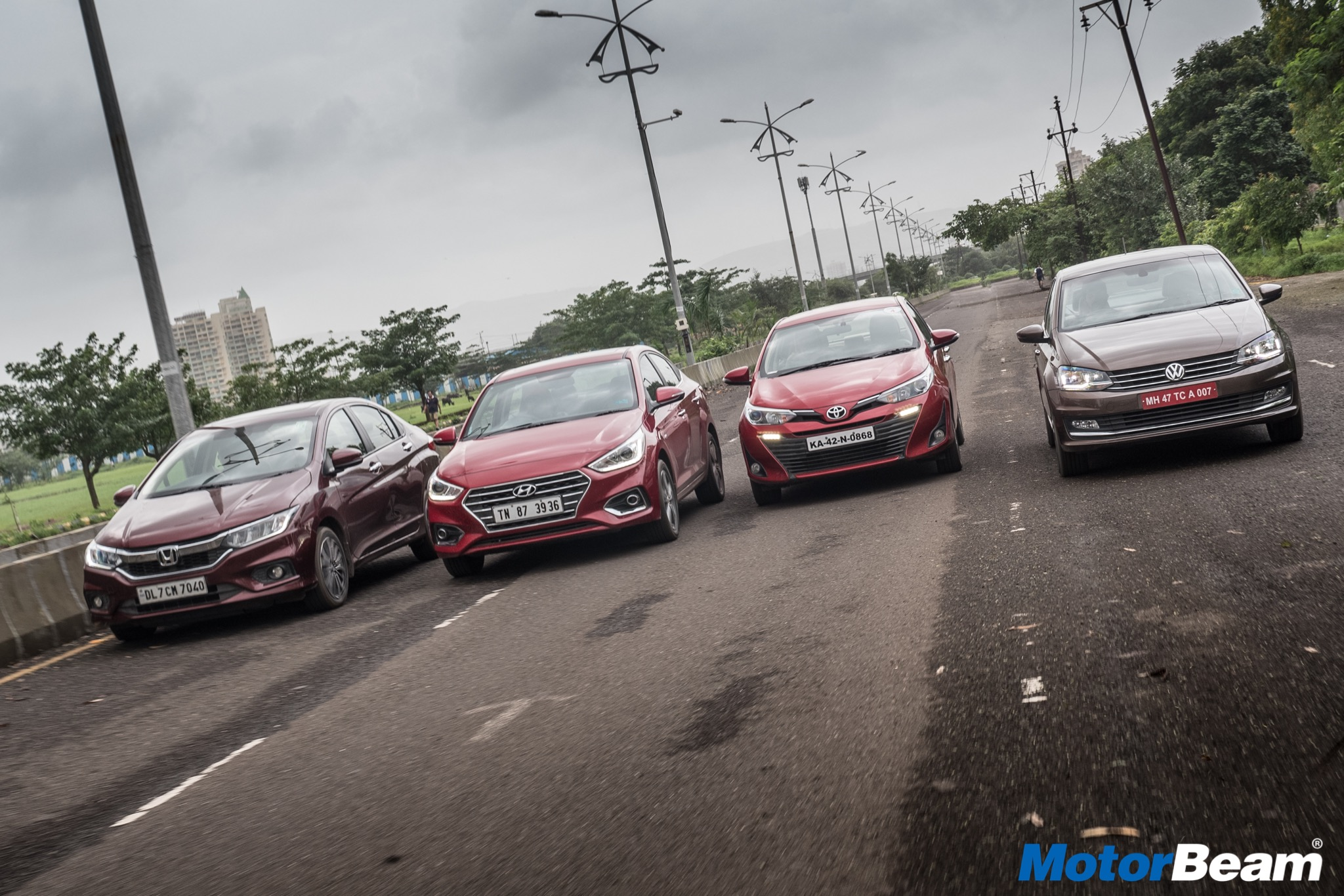 Honda City vs Hyundai Verna vs Toyota Yaris vs VW Vento Shootout