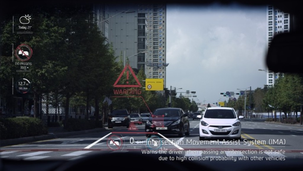 Hyundai Augmented Reality HUD Intersection Movement System