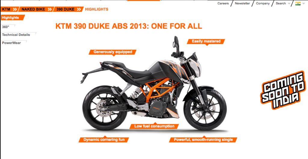 ktm's india website says duke 390 coming soon