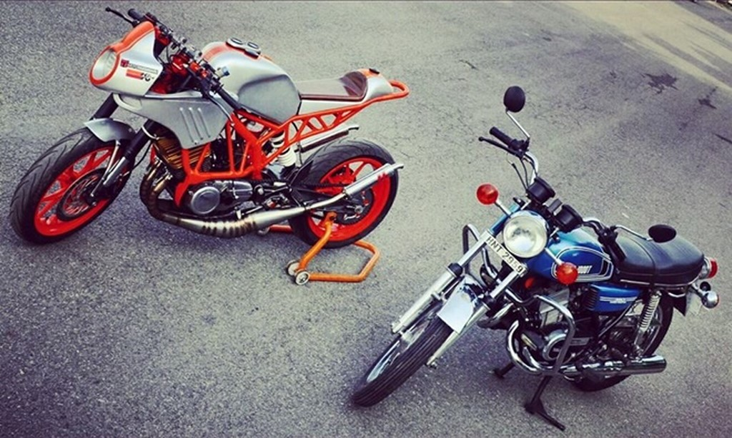 KTM Duke 200 With Yamaha RD350