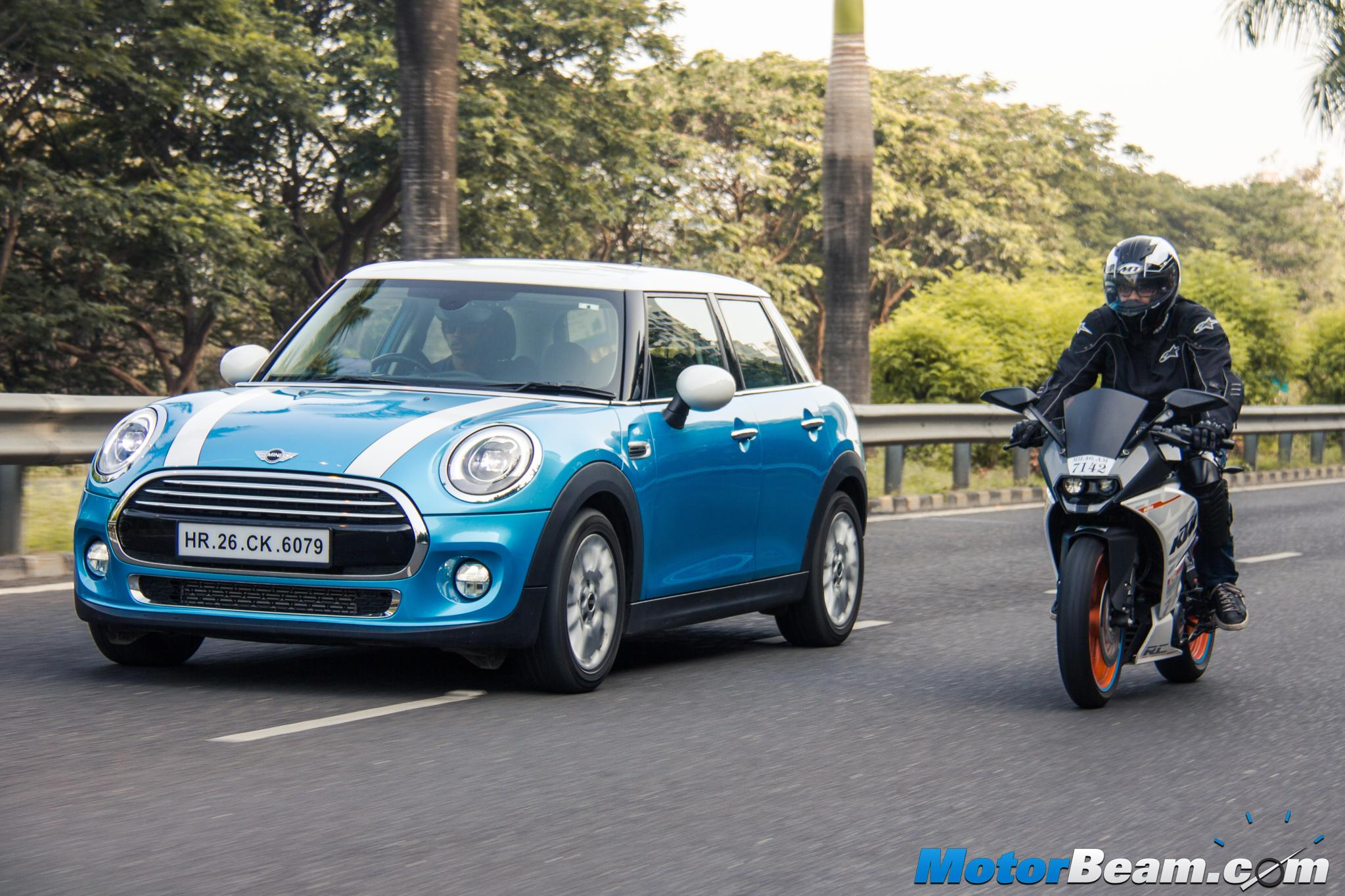 KTM RC 390 vs MINI Cooper