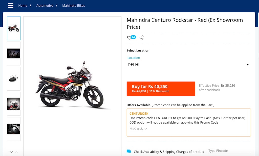 Mahindra Centuro Paytm Offer
