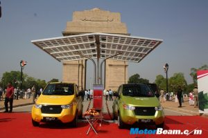 Mahindra Reva E20 India Gate Launch