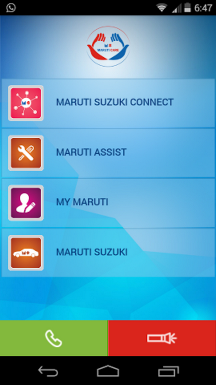 Maruti Care App Main Page