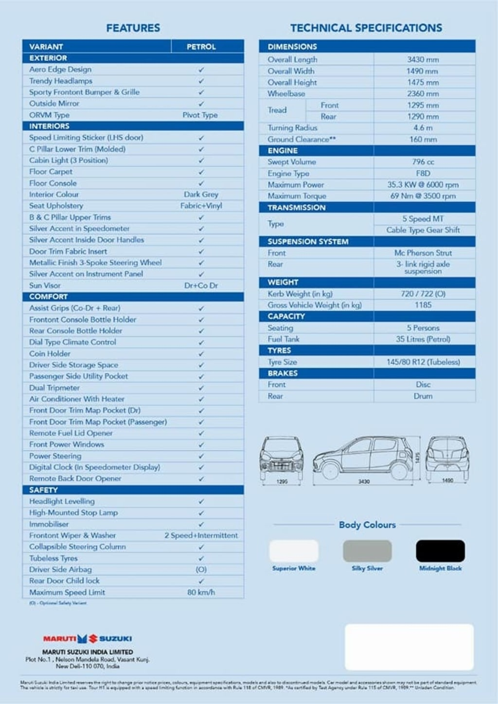 Maruti Tour H1 Specifications