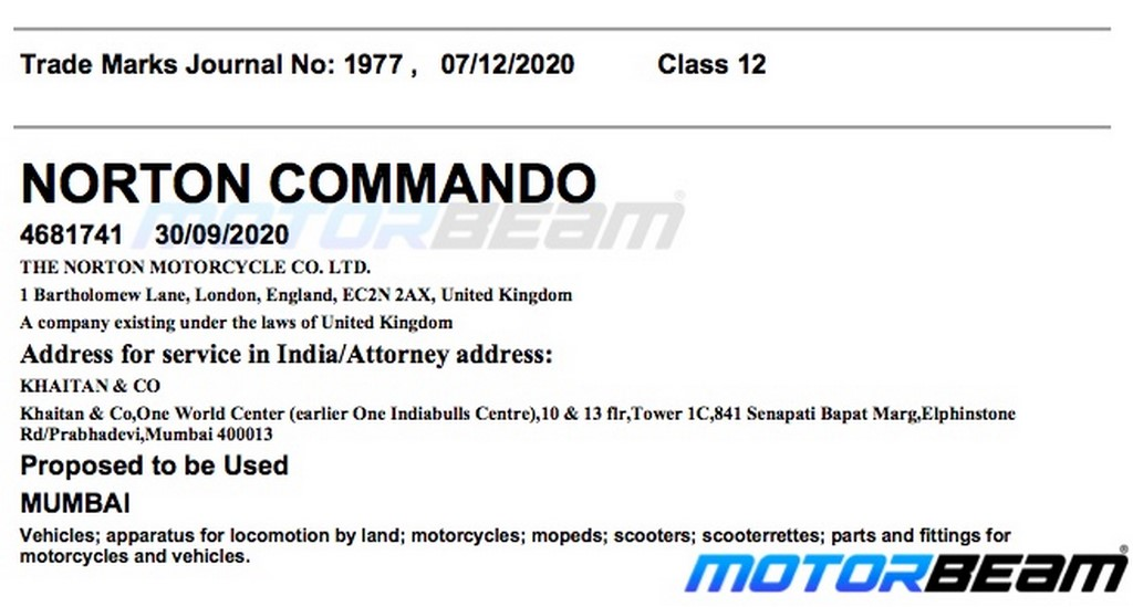 Norton Motorcycles Commando Trademark