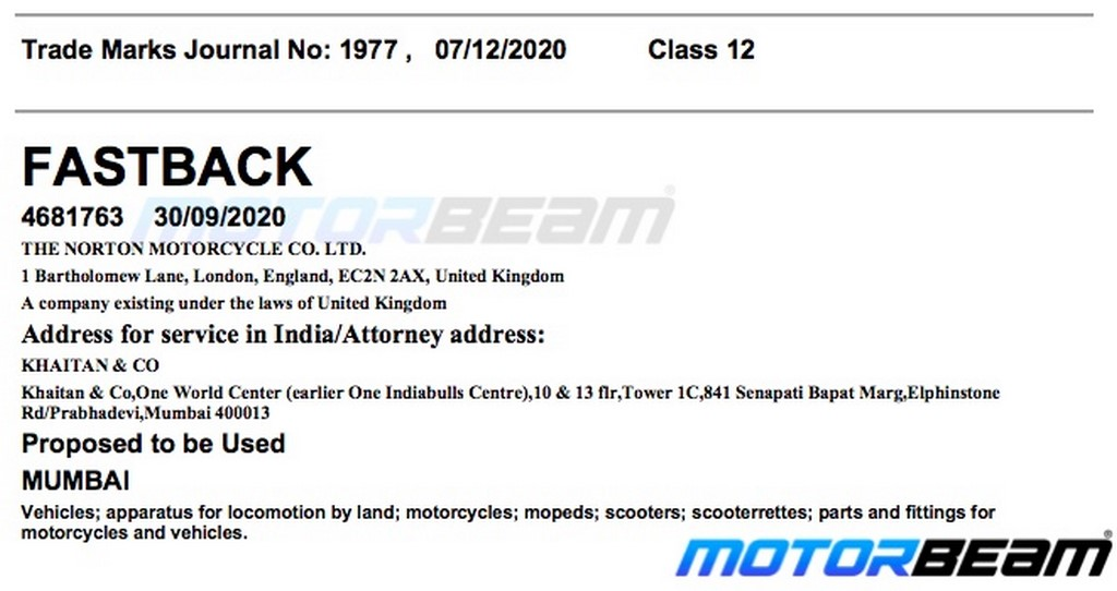 Norton Motorcycles Fastback Trademark