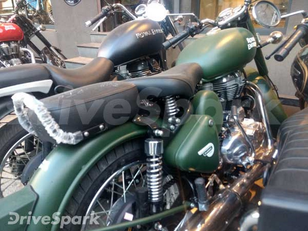 Royal Enfield Battle Green 500 Side Spotted