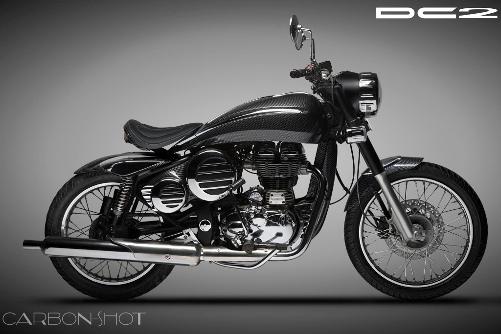 royal enfield bullet modified by dc called carbonshot motorbeam