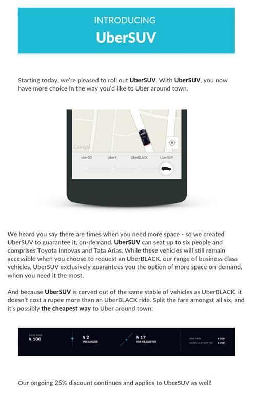 UberSUV Launched In Mumbai
