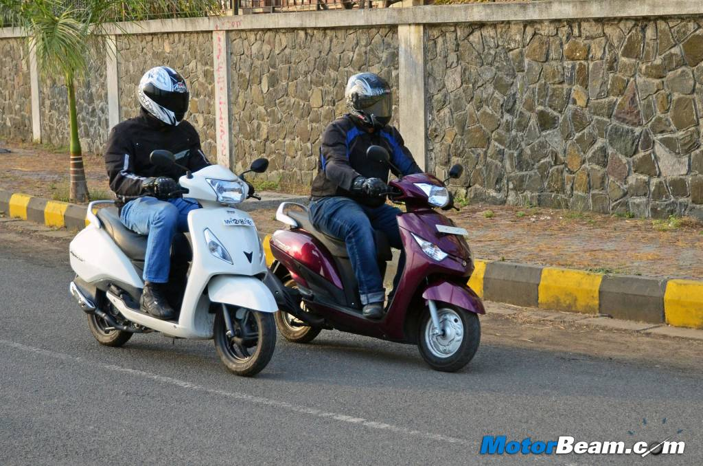 Yamaha Alpha vs TVS Jupiter Road Test